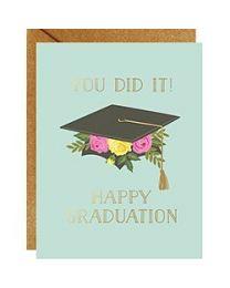 GRAD FLORAL CAP FOIL CARD