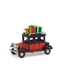 Small Red Vintage Car with Gifts - 4.5""