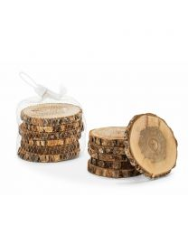 S/6 Natural Bark Coaster/Discs - 4""