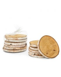 S/6 Natural Birch Coaster/Discs - 4""