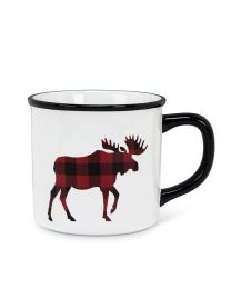 "Plaid Moose Mug - 4"" (14oz)"