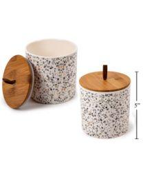 Medium Bamboo Terrazzo Ceramic Canister