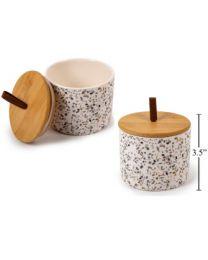 Small Bamboo Terrazzo Ceramic Canister