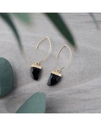 Chic Earrings-gold/black onyx