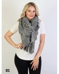 Black and White Plaid Blanket Scarf