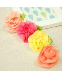Chiffon Rose Hairpin - Yellow