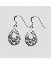 Silver Celtic Dangle Earrings - Teardrop