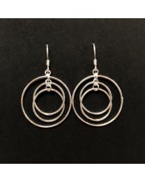 Silver Triple Circle Earrings