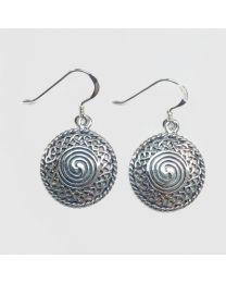 Silver Celtic Swirl Dangle Earrings - 18mm