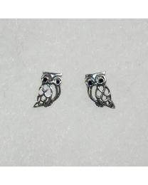 Silver Owl Stud Earrings with Black Crystal Eyes