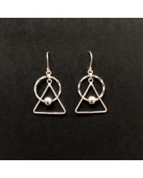 Silver Circle Triangle Geometric Earrings