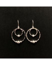 Silver Beaded Circles Earrings