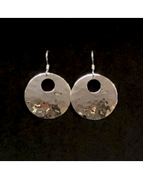 Silver Cropped Circle Earrings