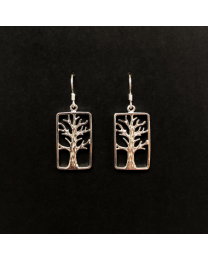 Silver Tree of Life Rectangle Earrings