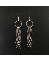 Silver Long Tassel Earrings