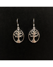 Silver Tree of Life Oval Earrings