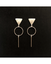 Silver Triangle Circle Bar Earrings