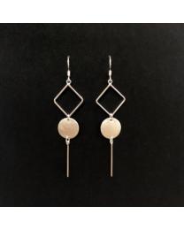 Silver Diamond Circle Bar Earrings