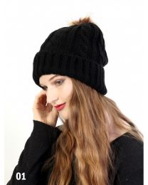 Cable Knitted Hat with Removable Pom Pom - Plush Inside