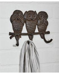 CAST IRON OWL DESIGN WALL HOOK