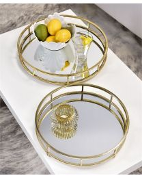 Metal with Mirror Table Trays (2pc)