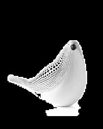 Debossed Dotted Sitting Bird - White