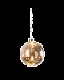 "Hanging Orb Smoke Mirror Glass 4"" Diameter LED Decor Ball"