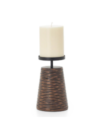 """Ripple Carved Groove 6""""h Resin Candle Holder - Brown"""