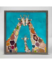 Giraffe Family in Turquoise by Eli Halpin - Mini Framed Canvas 6x6