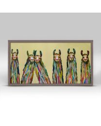 Six Lively Llmas by Eli Halpin - Mini Framed Canvas 10x5