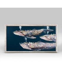 Humpback Whale Pod on Indigo by Eli Halpin - Mini Framed Canvas 10x5