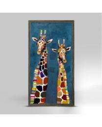 Two Giraffes on Blue by Eli Halpin - Mini Framed Canvas 5x7