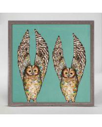 Owl Duo by Eli Halpin - Mini Framed Canvas 6x6