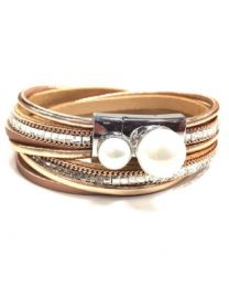 BRACELET - DOUBLE PEARL WITH CRYSTAL - ROSE GOLD