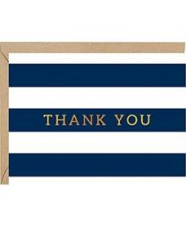 NAVY STRIPED FOIL THANK YOU CARD