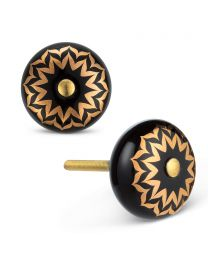 "Blk/Gold Flower Knob-1.5""D"