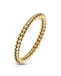 Braided Gold IP Stackable S.S Ring