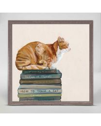 Cat on Books by Cathy Walters - 6x6 Mini Framed Canvas
