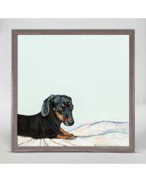 Side Eyed Dachshund by Cathy Walters - 6x6 Mini Framed Canvas
