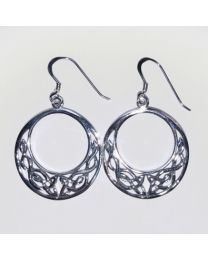 Silver Celtic Dangle Earrings - Round