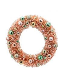 "Large Pink Brush Wreath - 11.5"""