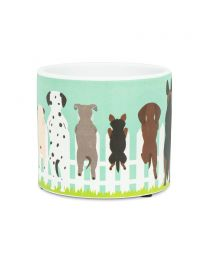 Dogs on Fence Planter Small