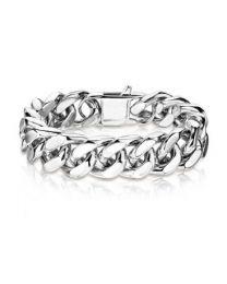 Silver S.S Square Curb Chain Bracelet
