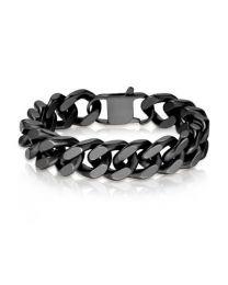 Black S.S Square Curb Chain Bracelet - 5mm