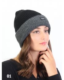 Knitted Hat with Brim Plush Inside