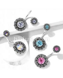 Tribal Pattern 316L Belly Button Navel Rings