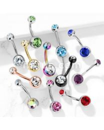 Double Gem Jeweled Belly Button Navel Rings