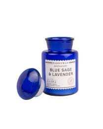 BLUE APOTHECARY 8 OZ BLUE SAGE & LAVENDER GLASS CANDLE
