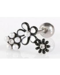Triple Flower Piercing - Black