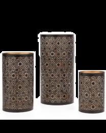 Mandala Metal Cutout Hurricane Candle Holders - Set of Three